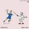 Cartoon: Handball vs Fencing (small) by raim tagged handball fencing olympics games