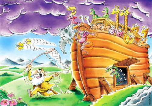 Cartoon: Noahs Ark (medium) by Ali Miraee tagged noah,ark,noahs,animal,messenger,iran,ali,miraee,mirayi,miraie,