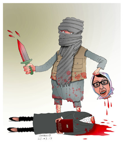 Cartoon: Afghans want Peace and security! (medium) by Shahid Atiq tagged afghanistan,balkh,helmand,kabul,london,nangarhar,attack