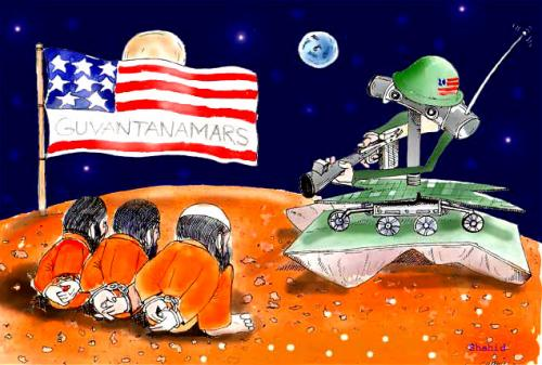 Cartoon: Guantanamars (medium) by Afghancartoon tagged guantanamo,usa,afghanistan