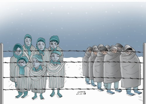 Cartoon: Histoy Repeats itself ! (medium) by Shahid Atiq tagged immigrant,refugee,afghanistan