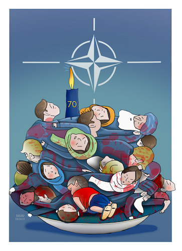 Cartoon: The 70th Anniversary of NATO ! (medium) by Shahid Atiq tagged afghanistan