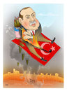Cartoon: No ceasefire for Erdogan ! (small) by Shahid Atiq tagged afghanistan