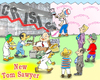 Cartoon: New Tom Sawyer (small) by gonopolsky tagged crisis,recession,banks,cunning,prosperity