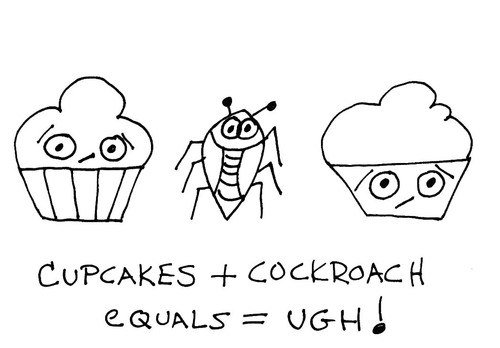 Cartoon: Gross But Cute-Number Four (medium) by Deborah Leigh tagged cupcake,cockroach,doodle,bw,grossbutcute