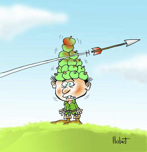 Cartoon: Golden apples (medium) by llobet tagged wilhelm,william,guillermo,tell,apple