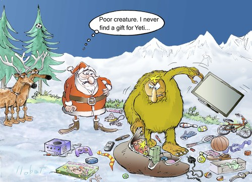 Cartoon: Search Gift For The Yeti (medium) by llobet tagged find,gift,christmas,claus,santa,yeti