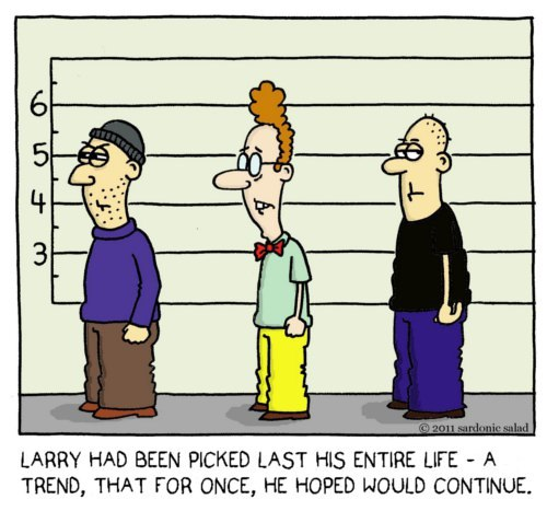 Cartoon: line up (medium) by sardonic salad tagged loser,criminal,up,line,police,salad,sardonic,comic,cartoon
