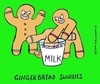 Cartoon: gingerbread bullies color versio (small) by sardonic salad tagged cookies,milk,jerks,bully