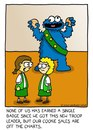 Cartoon: girl scout cookie monster (small) by sardonic salad tagged girl,scout,coookies,cookie,moster,sesame,street,sardonic,salad,cartoon,humor