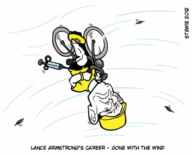 Cartoon: Lance Armstrong (medium) by stewie tagged wind,the,with,gone,career,armstrong,lance