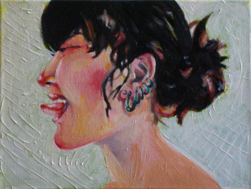 Cartoon: Piercing and tongue (medium) by Laurie Mouret tagged tongue,piercing,acrylics,