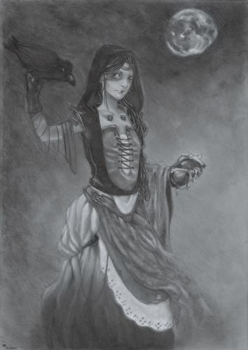 Cartoon: The heart-eating raven (medium) by Laurie Mouret tagged chalks,grey,paper,heart,raven,moon,girl,