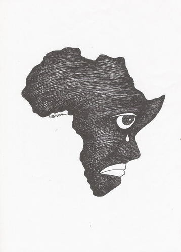 Cartoon: Africa (medium) by ercan baysal tagged black,imperialism,eye,politics,portrait,caricature,character,ercanbaysal,logo,white,handmade,sketch,tattoo,picture,vision,sihouette,graphic,revolution,baysal,exploitation,africa,racialism