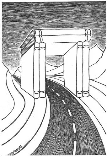 Cartoon: Arch (medium) by ercan baysal tagged bill,poster,favorite,daydream,fantasy,surreal,picture,vision,tattoo,turkey,türkiye,ercanbaysal,arch,word,tag,idea,pen,humour,satire,form,white,logo,book,black,road,line,ink,literature,art