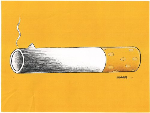 Cartoon: Cigarette (medium) by ercan baysal tagged sickness,death,yellow,ercanbaysal,logo,poison,cigarette,baysal,and,weapon,art