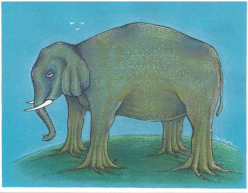 Cartoon: elephant (medium) by ercan baysal tagged elephant,foot,root,tree,ercan,animals,animal,tiere,baysal,satire,art,illustration,blue,cartoon