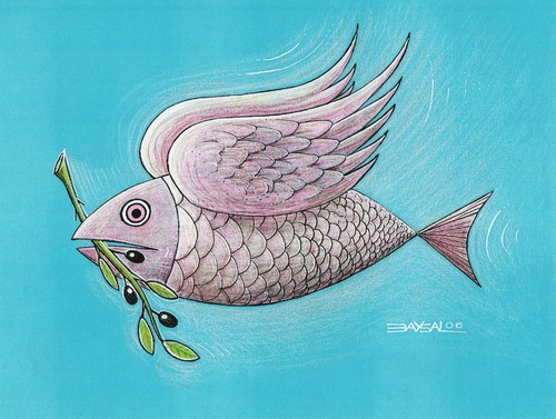 Cartoon: Fish (medium) by ercan baysal tagged hope,ercanbaysal,logo,animals,satire,humour,absurd,tiere,blue,fly,sea,olive,bird,peace,cartoons