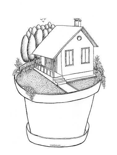 Cartoon: Little House (medium) by ercan baysal tagged little,house,tree,garden,soil,summrly,hadmade,line,ink,cartoon,illustration,satire,turkey,türkiye,ercanbaysal,vision,picture,dream,daydream