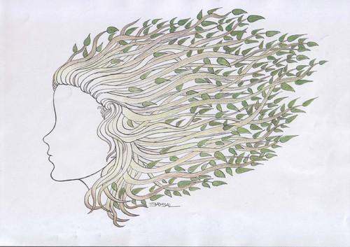 Cartoon: Naturel Hair (medium) by ercan baysal tagged handmade,sketch,pencil,pen,picture,image,vision,joy,idea,daydream,fantasy,job,good,girl,leaf,virgin,illustration,woman,hair,frau,logo,black,white,coiffeur,ecological,ercanbaysal,cartoons,art,grafik
