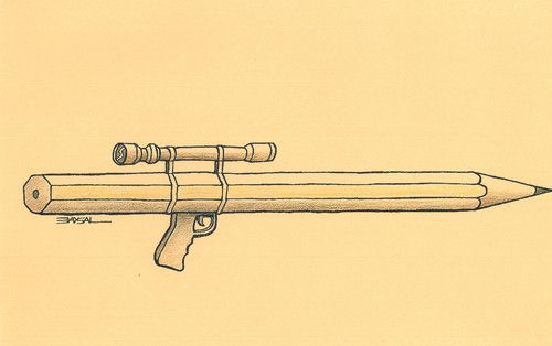 Cartoon: Pen and weapon (medium) by ercan baysal tagged binoculars,coloured,create,design,turkiye,turkey,ercanbaysal,humour,satire,artwork,handmade,illustration,life,death,dead,risk,magazine,picture,good,art,job,draw,newspaper,cartoon,weapon,pen,trigger,artist,shooter