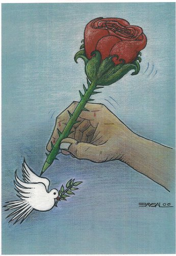 Cartoon: Rose and Pigeon (medium) by ercan baysal tagged opinion,tag,word,draw,picture,idea,vision,job,good,satire,artwork,art,fly,hand,pigeon,rose,picturize,create,fine,ercanbaysal,resistance,handmade,work,cartoons,literature,baysal,artist