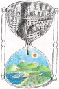 Cartoon: Nature (small) by ercan baysal tagged death,industry,life,cartoon,hour,ecology,handmade,draw,work,art,satire,coloured,white,black,hourglass,ercanbaysal,humor,artgrafik