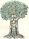 Cartoon: Olive Tree (small) by ercan baysal tagged myth,talent,tale,türkiye,turkey,tree,cuddle,pedigree,life,family,art,poster,placard,follow,selfie,good,job,picture,image,fantasy,daydream,fine,fineart,artwork,face,paint,pencil,mixed,master,work,men,handmade,eve,logo,humour,turquie,kadn,erkek