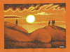 Cartoon: Sunset (small) by ercan baysal tagged talent,turkey,handmade,vivaldi,summer,mother,earth,surreal,fantasy,dream,daydream,picture,image,vision,jobfine,fineart,good,job,paint,pencil,coloring,master,art,artwork,work,cartoon,hip,humour,cloud,buttock,illustration,sunset,women,sun,sea,red,yellow,man