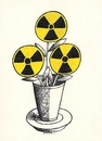 Cartoon: The Flower of Evil (small) by ercan baysal tagged ercanbaysal,türkiye,turkey,flower,pen,pencil,good,job,draw,magazine,form,shape,favorite,vision,grotesk,nuclear,baudelaire,black,white,yellow,technology,atom,deadh,radiation,health