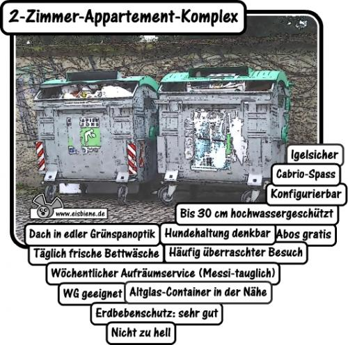 Cartoon: 2 Zimmer appartement komplex (medium) by hans365 tagged wohnung,haus,urlaub,