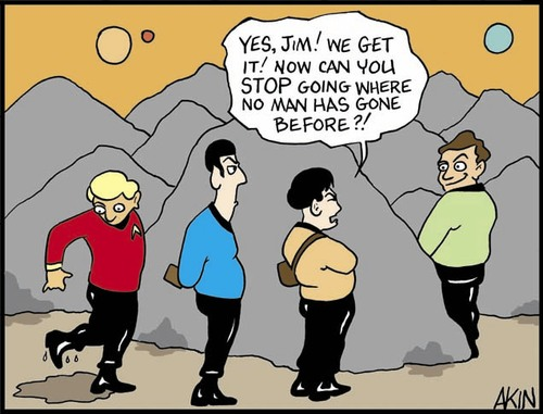 Cartoon: Ya have to go (medium) by Tim Akin Ink tagged star,trek,captain,kirk,sulu,george,takai,spock,leonard,nemoy,william,shatner