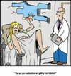 Cartoon: Getting closer (small) by Tim Akin Ink tagged birth,contractions,doctor,mother