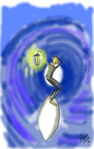 Cartoon: light at the end of the tunnel (medium) by loboloco tagged tunnel,surf,light,the