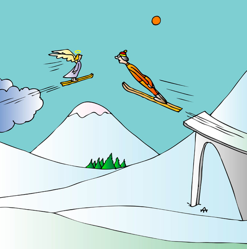 Cartoon: Angel (medium) by Alexei Talimonov tagged snow,winter,skiing,angel,olympics