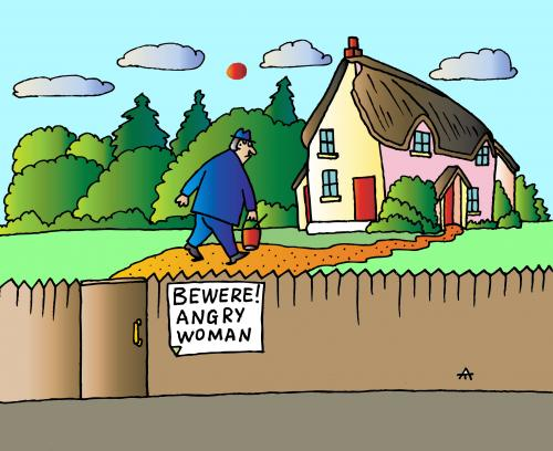 Cartoon: Angry Woman (medium) by Alexei Talimonov tagged man,woman,home,angry