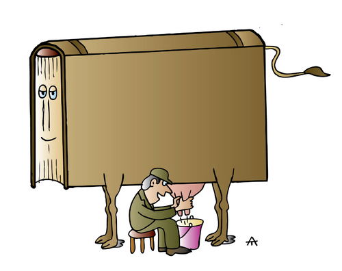 Cartoon: book (medium) by Alexei Talimonov tagged book,cow