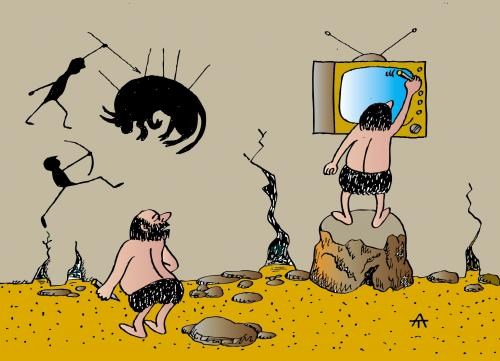 Cartoon: Early TV (medium) by Alexei Talimonov tagged prehistory,stone,age,tv,television