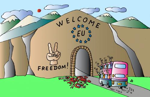 Cartoon: EU welcome (medium) by Alexei Talimonov tagged eu