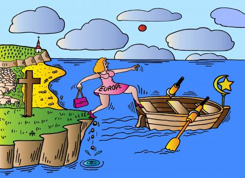 Cartoon: Europe and Boat (medium) by Alexei Talimonov tagged europe,islam,