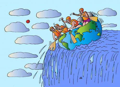 Cartoon: Going Down (medium) by Alexei Talimonov tagged nature,climate