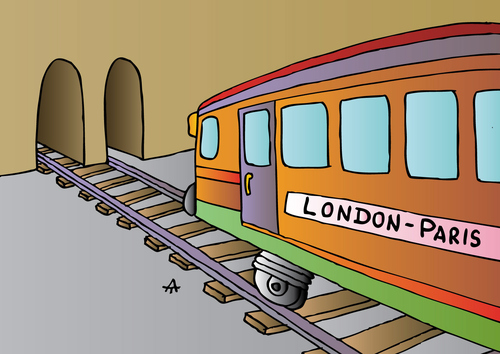 Cartoon: London-Paris (medium) by Alexei Talimonov tagged train,london,paris