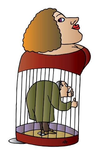 Cartoon: Man in cage (medium) by Alexei Talimonov tagged man,cage,woman