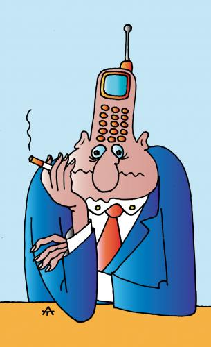 Cartoon: Mobile Man (medium) by Alexei Talimonov tagged mobiles,cell,phones