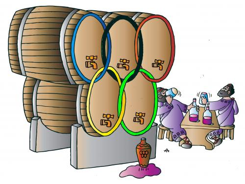 Cartoon: Olympic Wine (medium) by Alexei Talimonov tagged olympic,games