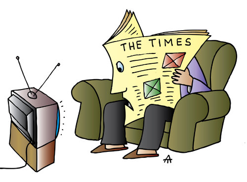Cartoon: The Times (medium) by Alexei Talimonov tagged media,newspapers,tv