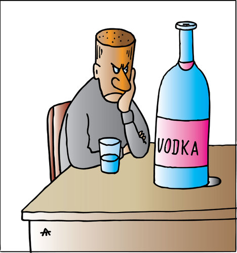 Cartoon: Vodka (medium) by Alexei Talimonov tagged vodka,alcohol,drinking