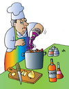 Cartoon: cook and wine (small) by Alexei Talimonov tagged wine cooking restaurant koch cook