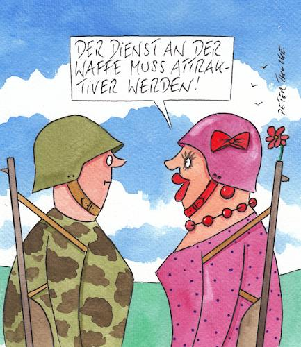 Cartoon: waffe (medium) by Peter Thulke tagged bundeswehr,armee,soldat,bundeswehr,armee,soldat