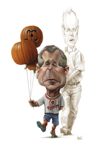 Cartoon: Halloween Double Bush (medium) by achille tagged bush,halloween,pumkin,karikatur,george bush,usa,halloween,george,bush